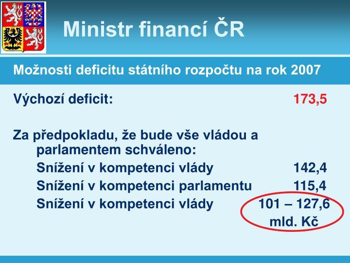 Možnosti deficitu státního rozpočtu na rok 2007