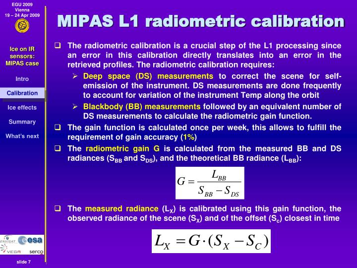 MIPAS L1 radiometric calibration