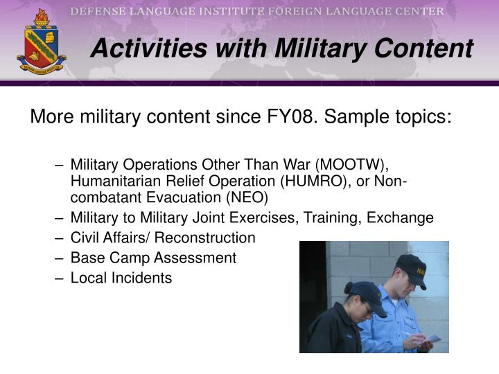 Activities with Military Content