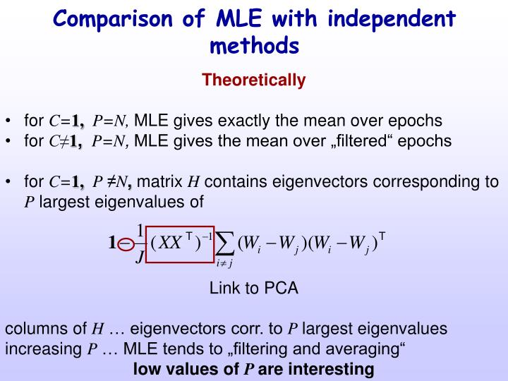 Comparison of MLE with independent methods
