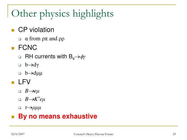 Other physics highlights
