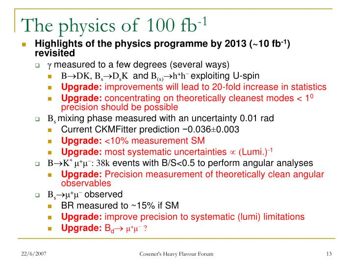 The physics of 100 fb