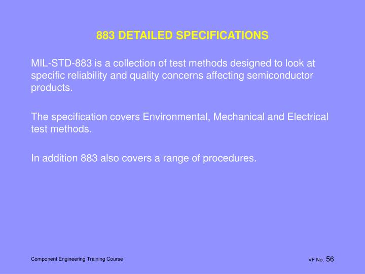 883 DETAILED SPECIFICATIONS