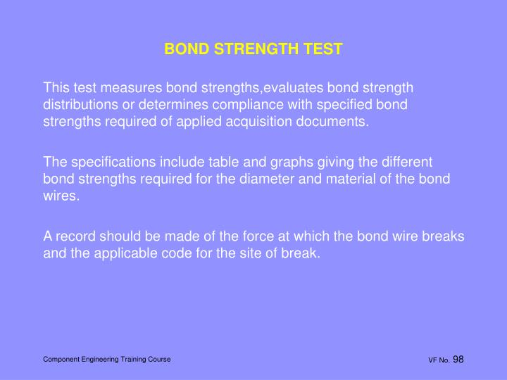 BOND STRENGTH TEST