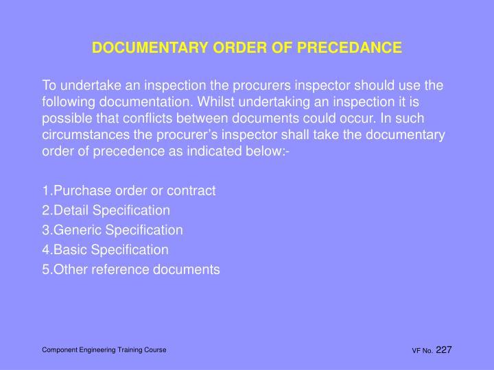 DOCUMENTARY ORDER OF PRECEDANCE