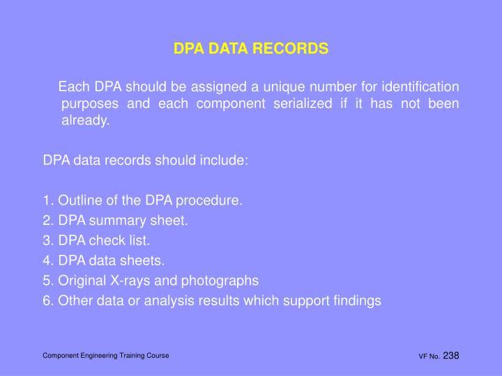 DPA DATA RECORDS