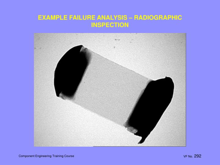 EXAMPLE FAILURE ANALYSIS – RADIOGRAPHIC INSPECTION