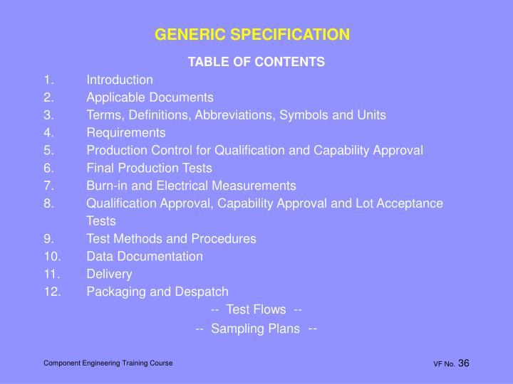 GENERIC SPECIFICATION