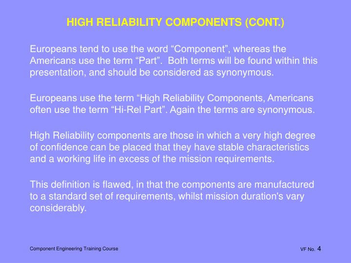 HIGH RELIABILITY COMPONENTS (CONT.)