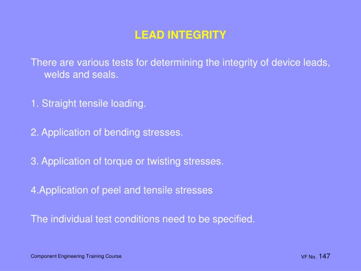 LEAD INTEGRITY