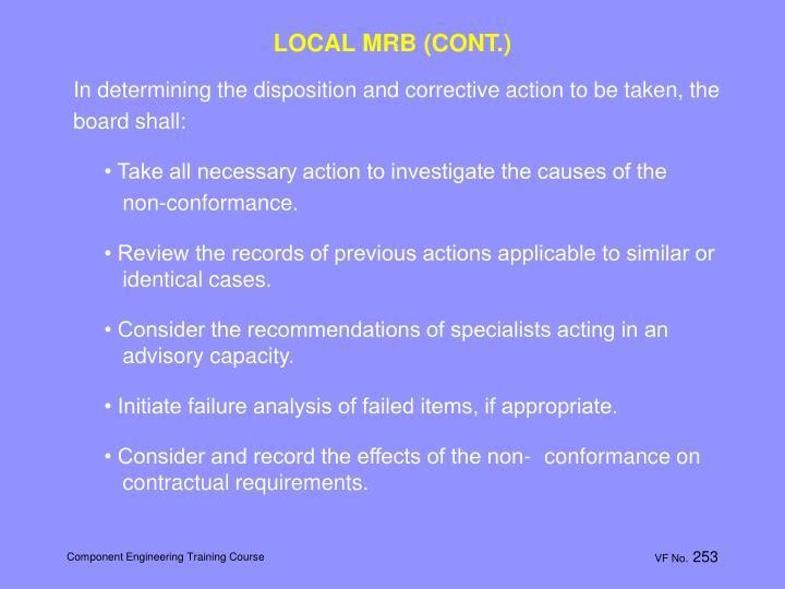 LOCAL MRB (CONT.)