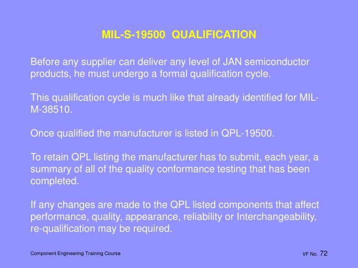 MIL-S-19500  QUALIFICATION