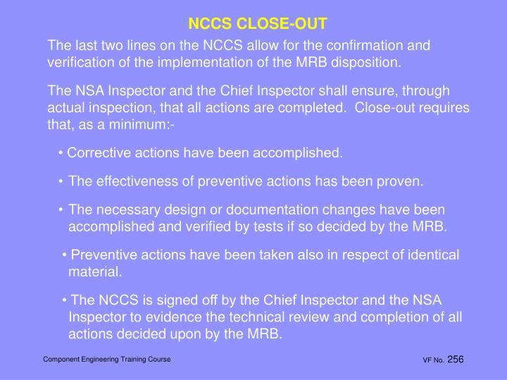 NCCS CLOSE-OUT