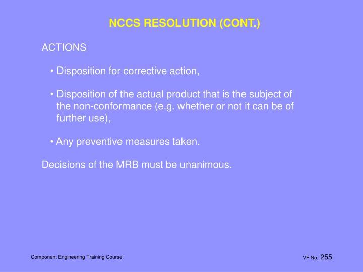 NCCS RESOLUTION (CONT.)
