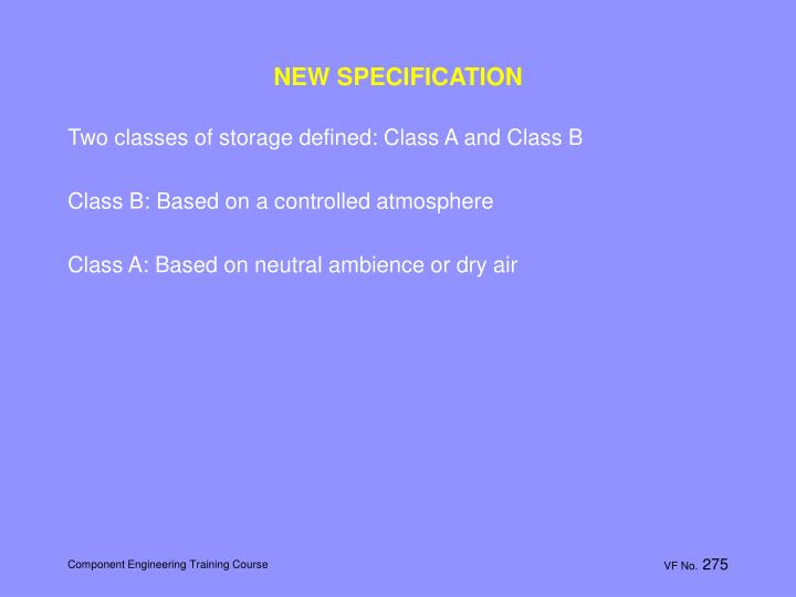 NEW SPECIFICATION