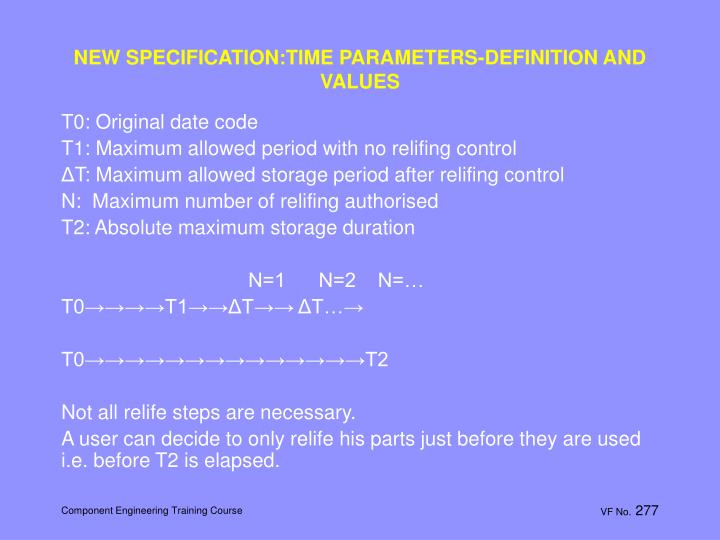NEW SPECIFICATION:TIME PARAMETERS-DEFINITION AND VALUES