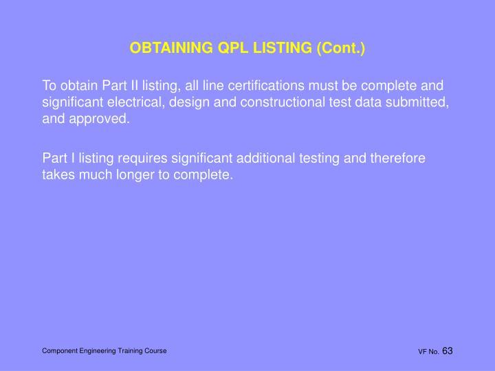 OBTAINING QPL LISTING (Cont.)