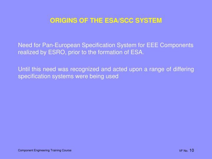 ORIGINS OF THE ESA/SCC SYSTEM