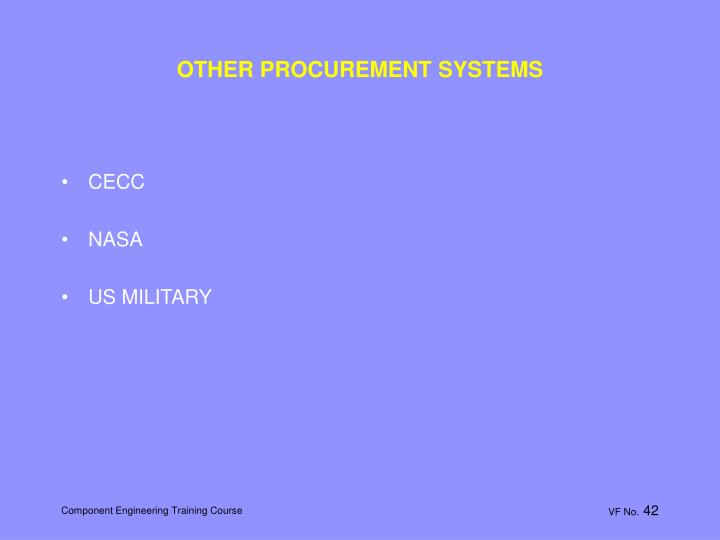 OTHER PROCUREMENT SYSTEMS