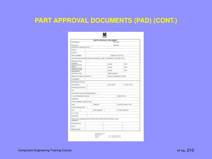 PART APPROVAL DOCUMENTS (PAD) (CONT.)