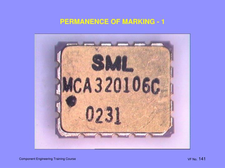 PERMANENCE OF MARKING - 1