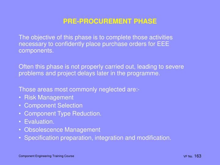 PRE-PROCUREMENT PHASE
