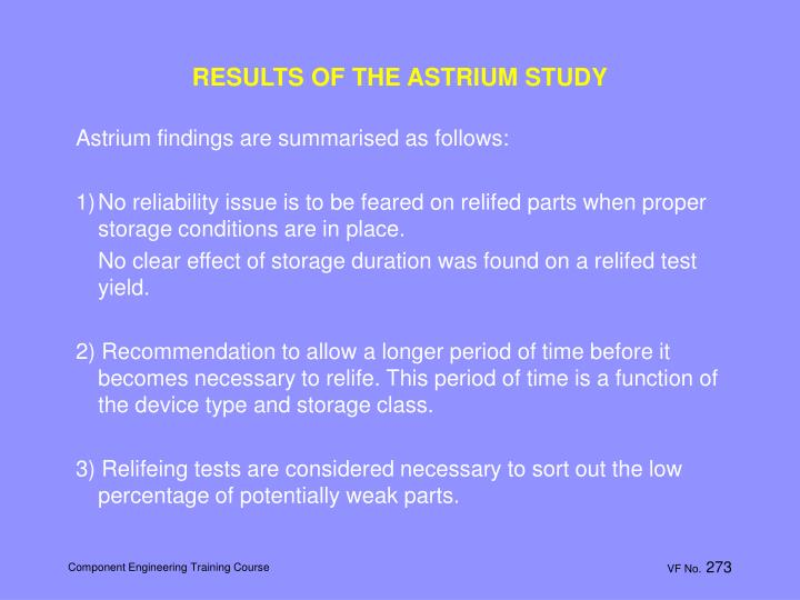 RESULTS OF THE ASTRIUM STUDY