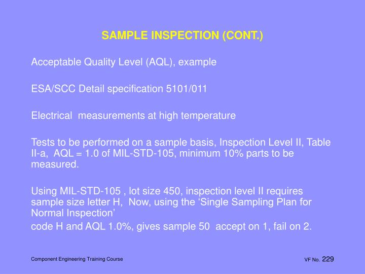 SAMPLE INSPECTION (CONT.)