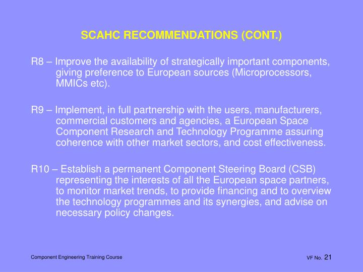 SCAHC RECOMMENDATIONS (CONT.)