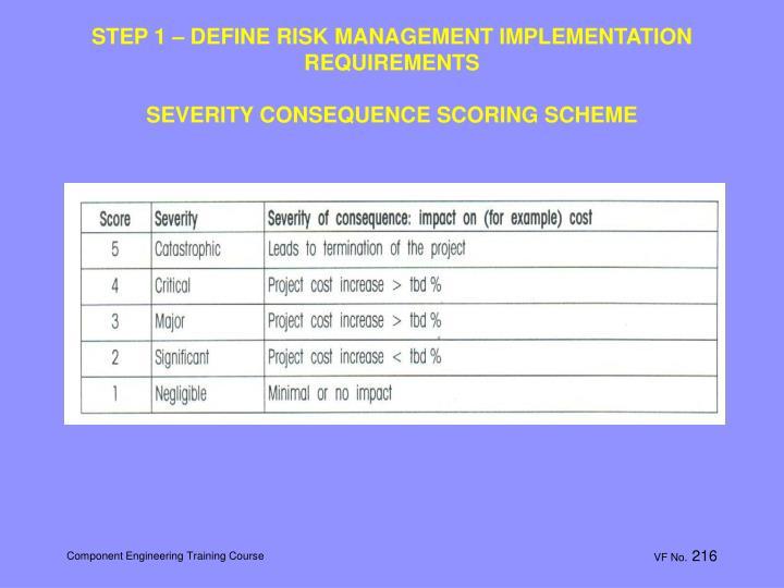 STEP 1 – DEFINE RISK MANAGEMENT IMPLEMENTATION REQUIREMENTS