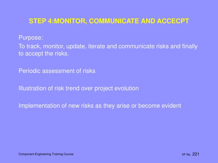 STEP 4:MONITOR, COMMUNICATE AND ACCECPT