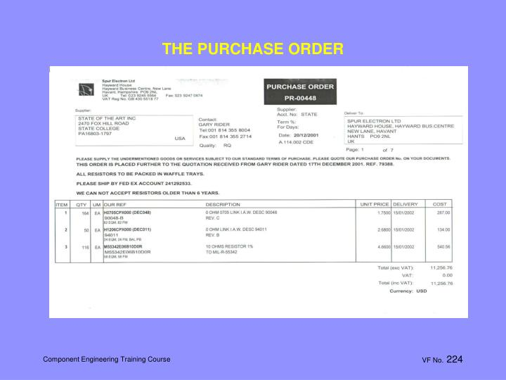 THE PURCHASE ORDER