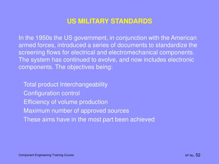 US MILITARY STANDARDS