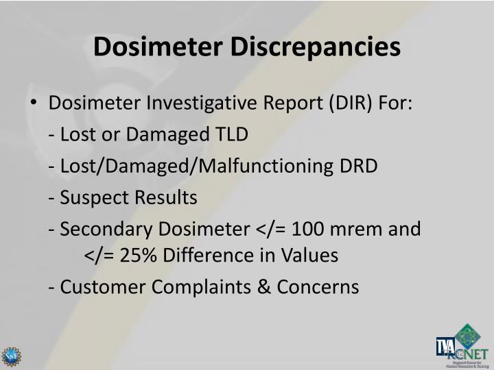 Dosimeter Discrepancies