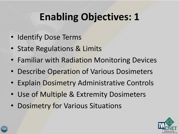 Enabling objectives 1