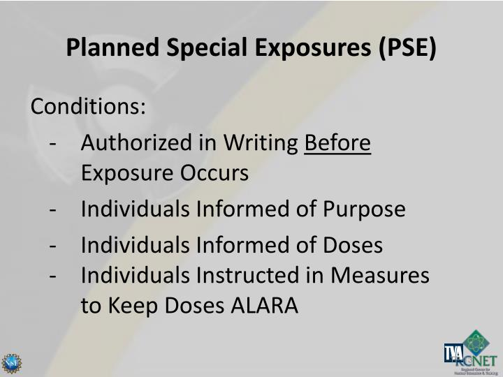 Planned Special Exposures (PSE)