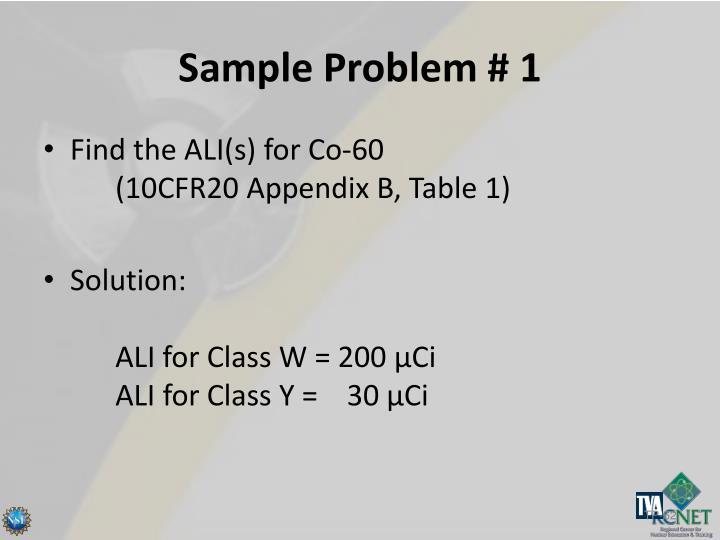Sample Problem # 1