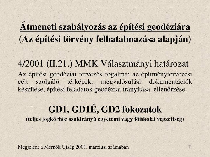 Átmeneti szabályozás az építési geodéziára