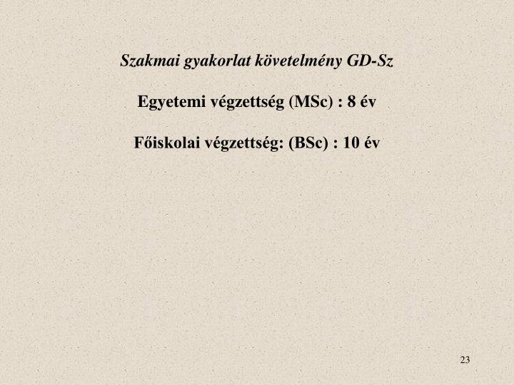 Szakmai gyakorlat követelmény GD-Sz
