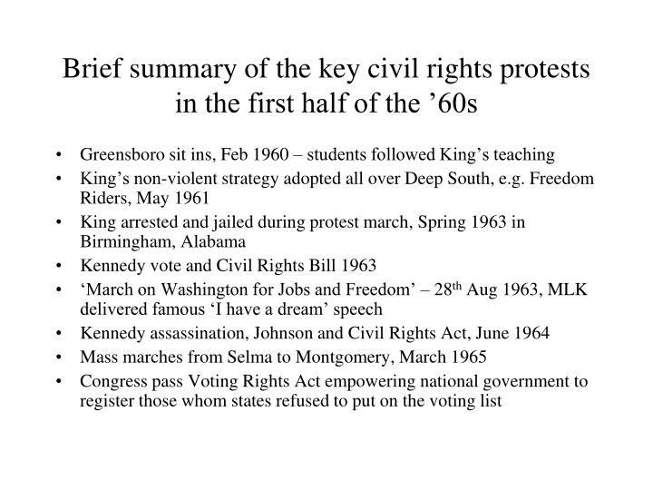 Brief summary of the key civil rights protests in the first half of the 60s