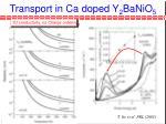 transport in ca doped y 2 banio 5