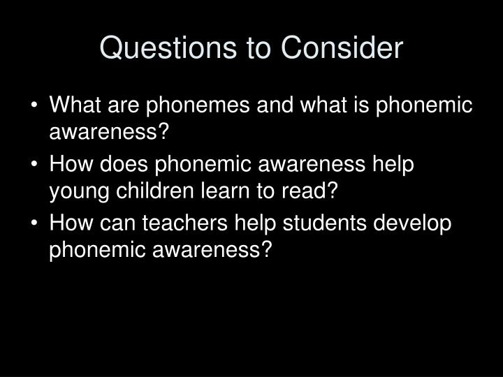 Questions to consider