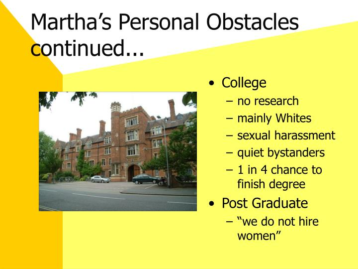 Martha's Personal Obstacles