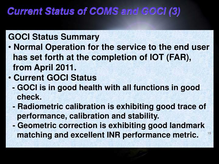Current Status of COMS and GOCI (3)