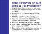 what taxpayers should bring to tax preparation