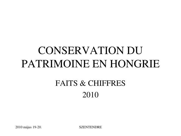 conservation du patrimoine en hongrie n.