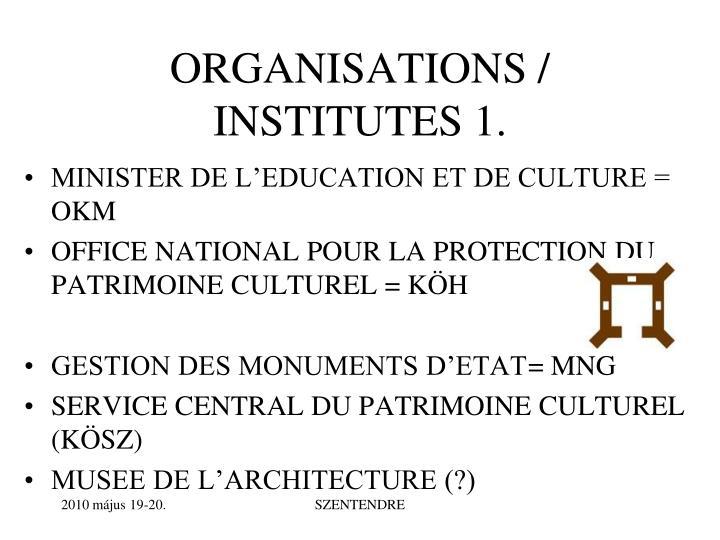 ORGANISATIONS / INSTITUTES 1.