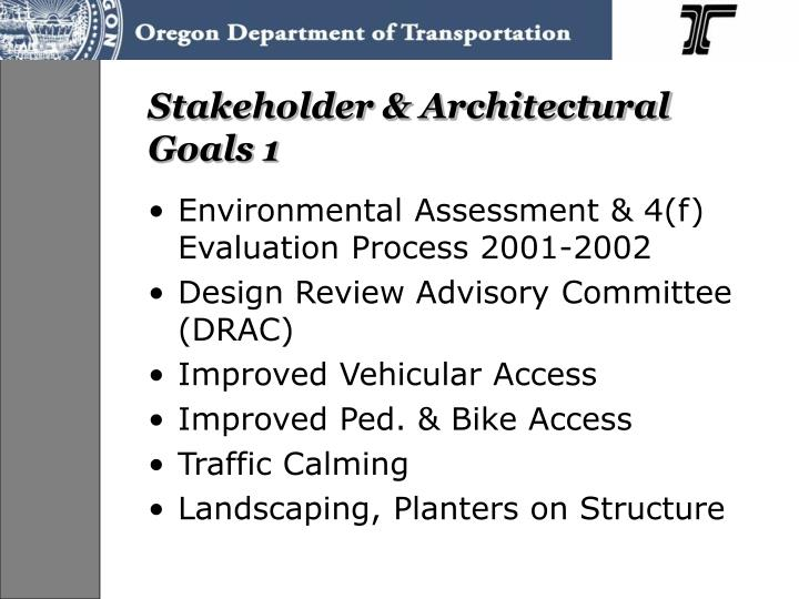 Stakeholder & Architectural Goals 1