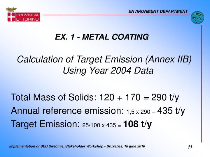 EX. 1 - METAL COATING