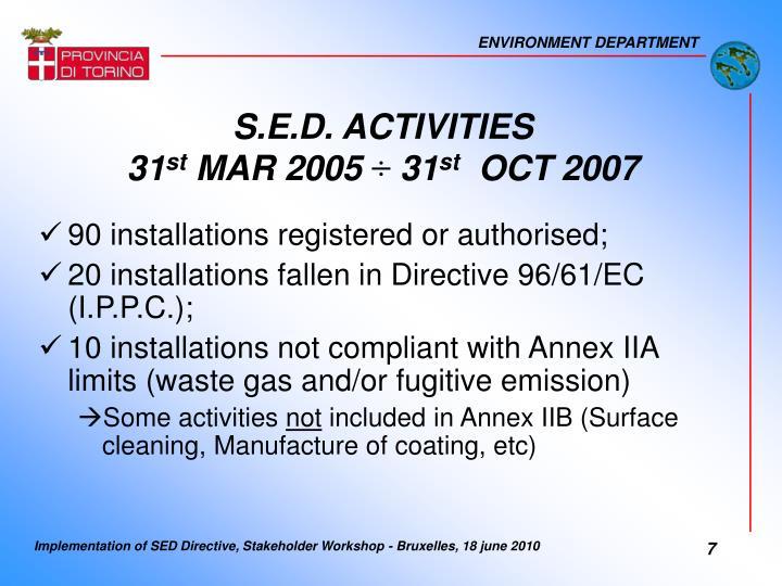 S.E.D. ACTIVITIES